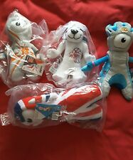 set of 4 olympic 2012 soft toys, wenlock, mascots 9 inch