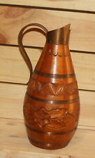 Vintage folk floral carved wood bottle pitcher