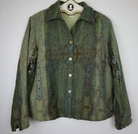 Anu by Natural Artsy Boho Art To Wear Brown Green Woven Jacket Women's Size L