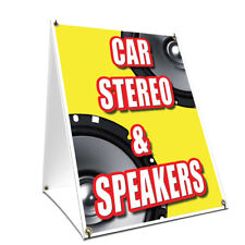 A-frame Sidewalk Sign Car Stereo & Speakers Double Sided Graphics