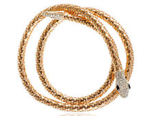 Gold Snake Jewelry Onyx Rhinestone Encrusted Coil Necklace Fashion Party Jewelry