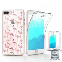 For iPhone 8 Plus,7 Plus Full Body 360 Protector Cover Case Pink Flamingo