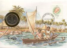 superbe enveloppe TONGA pièce monnaie 20 SENITI 1981 UNC NEW timbre