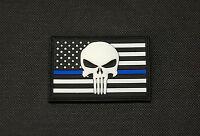 USA Police Thin Blue Line Flag 3D PVC Glow Patch SWAT Gang Team Hook