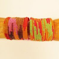 Set of 2 BRITE Color Block Beaded Wide Cuff Handmade Bracelet Glass Beads
