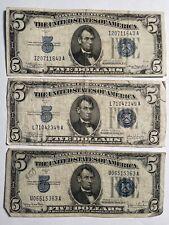 1934-A C D $5 BLUE Seal Silver Certificates