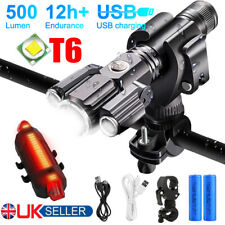 Rechargeable LED Mountain Bike Lights 18650 Bicycle Torch Front Rear Lamp Set UK