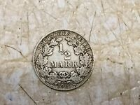SILVER German Empire 1/2 Mark 1905 D Very Rare Lot