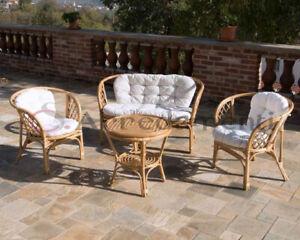 salotto da esterno giardino rattan naturale vimini set BAR RISTORANTE divani