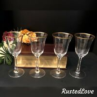 Vintage Lenox Crystal Mansfield Gold Trim Hand Blown USA set 4 Wine Glasses