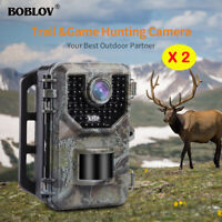 "2 Pack 16MP Hunting Camera IP66 120°Degree 2.4"" LCD Animal Scouting Trail Camera"