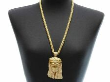 "Bling ICED-OUT JESUS Statement Rhinestone Necklace LONG Rope Chain 24"" ~ GOLD"