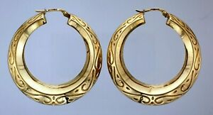 9ct Yellow Gold Pair 37.7mm Scroll Embossed Bevel Hinged Round Creole Earrings