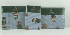RALPH LAUREN POLO TEDDY BEAR BLUE TWIN SHEET SET FLAT FITTED 2 PILLOWCASES  NEW