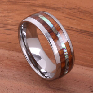 Big Island Koa Wood Abalone Ring Tungsten  Ring Mens Wedding Ring 8mm TUR4024