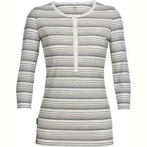 Size L - Icebreaker Merino Tech Lite 3 Q Sleeve Henley Stripe T-Shirt Rrp $130