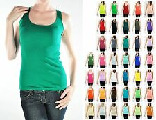 Basic Tank Top Layer Solid Rib Sleeveless Long Racerback Ribbed Scoop- [ S~LG ]