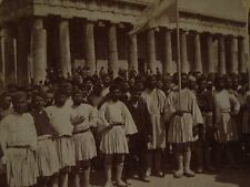 Stereoview 1897 Army Recruits GRECO-TURKISH WAR Theseus Temple ATHENS,Greece ~EX