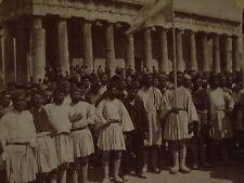 1897 GRECO-TURKISH WAR Theseus Temple ARMY RECRUITS Athens,Greece U&U Stereoview