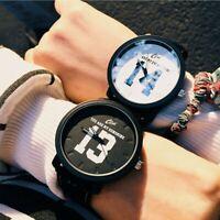 Luxury Fashion Men Women Stainless Steel Leather Band Quartz Couples Wrist Watch