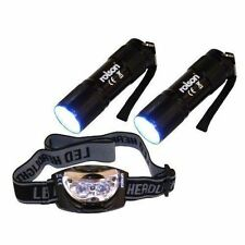 Rolson 61762 LED Torch Head Light Mode Set Wrist Strap Aluminum Torches Rubber