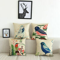 "18"" Bird Tree Cotton Linen Throw Pillow Case Home Sofa Waist Cushion Covers"