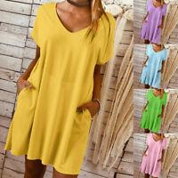 Women Summer Boho Short Sleeve Dress Evening Cocktail Party Beach Loose Sundress