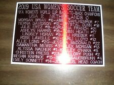 2019 USA WOMEN'S WORLD CUP SOCCER TEAM ENGRAVED NAMEPLATE FOR PHOTO DISPLAY
