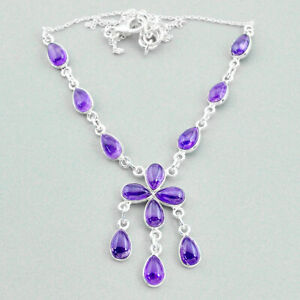 21.48cts Natural Purple Amethyst 925 Sterling Silver Necklace Jewelry T34122