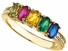 Birthstone Ring 14kt Yellow Gold / White Gold Custom You Pick Your Birthstones