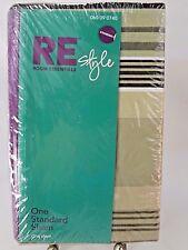 Room Essentials Style Standard Pillow Sham Green & Black Stripe New Re