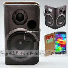 Wallet Phone Case Flip Cover for Samsung Galaxy S5 - Subwoofer Speaker Print