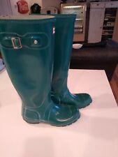 HUNTER Original Tall Gloss Rain Boots Teal/Greenish  Women's UK 3 US 4M 5F