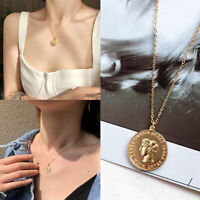 Women Vintage Gold Roman People Coin Pendant Necklace Sweater Chain Jewelry Gift