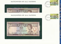 Banknotes of All Nations Fiji 1980 1 Dollar UNC P76 C/5 2 Consecutive