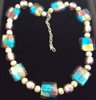Vintage Jewellery Stunning Dichroic Square Geometric Art Glass Bead Necklace