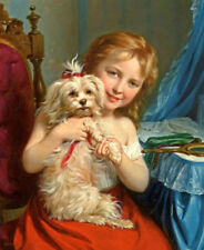 ZOPT411 beautiful little girl & dog hand painted oil painting decor art canvas