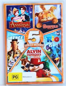 5 x DVD ANASTASIA Garfield The Movie RIO Alvin Chipmunks Chipwrecked ICE AGE VGC
