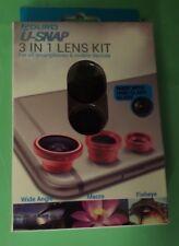 Aduro U-Snap 3 in 1 Detachable Cell Phone Lens Kit w/ 180 Degree Range New