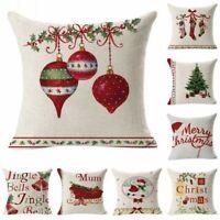 Christmas Linen Cushion Cover Throw Pillow Case Xmas Festive Gift Home Decor