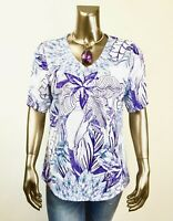 CHICO'S NEW ZENERGY WHITE PURPLR FLORAL TEXTURE TUNIC TOP SIZE 2 (L)
