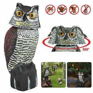 Owl Decoy Realistic Garden Yard Pest Repellent Bird Scarecrow Outdoor W/ SOUND