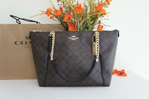 NWT Coach F87776  Ava Chain Tote in Signature Coated Canvas&Leather Brown/Black