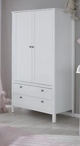 Kleiderschrank in weiß Kinderzimmer Babyzimmer Schrank mit Schubkasten 90 cm Ole