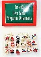 "Miniature Christmas Ornaments Polystone Set Of 18 Dear Santa 1"" Tall Vintage"
