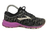 Brooks Launch 5 Black Purple Print Athletic Running Shoes Women's Size 8 (READ)