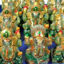 "3"" Natural Green Aventurine Ganesha Statue Gold Paint Hand Carved Stone Art Work"
