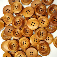 50Pcs 4 Hole Mixed Round Wood Buttons Decor Clothing Sewing Scrapbooking 25mm