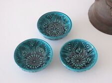 TURKISH CERAMIC BOWLS, SET OF 3,IZNIK CERAMIC, TURQUOISE, CERAMIC DISH XMAS GIFT
