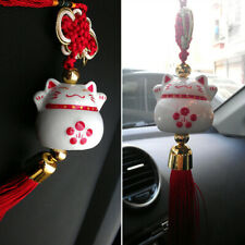 1PCS Lucky Cat Pendant Chinese Ceramic Lucky Cat Pendant Wind Chime Car Pendant
